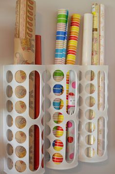 Ikea plastic bag holders for wrapping paper storage [Her Story: Holy Craft!]