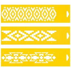 """Set of 3 - 12"""" x 3"""" Reusable Flexible Plastic Stencils for Cake Design Decorating Wall Home Furniture Fabric Canvas Decorations Airbrush Drawing Drafting Template - Pampas Aztec Ethnic Pattern Plantec"""