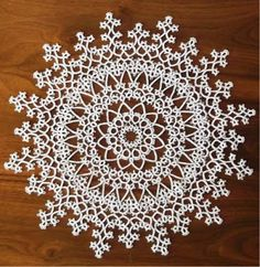 """Snowflake Doily : It was featured in Handy Hands, Winter 2012 news letter. This issue of the newsletter was from: """"Tatting"""" by Penelope, Bk 4 : Thanks to West Pine Creations for Sharing: March 2012"""