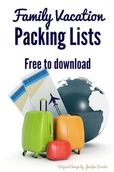 Free family vacation packing lists, including lists for theme park vacations! #family #familytravel #travel