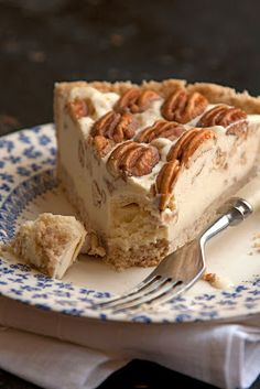Pecan Ice Cream Pie - A new twist on the classic pecan pie: a nutty pressed pie crust is filled with a buttery, rich pecan-vanilla ice cream. Cashews, almonds, and especially peanuts make great substitutions, if you don't have pecans on hand. #food #yummy #delicious