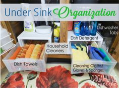 Under sink organization. {I may take a leaf out of this book for our under-sink area.} by pauline Kitchen Sink Organization, Sink Organizer, Kitchen Organization, Organization Hacks, Organizing Ideas, Kitchen Storage, Organized Kitchen, Closet Storage, Do It Yourself Home