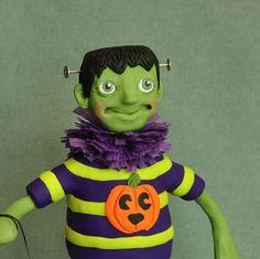 Frankenstein Monster Halloween Art Doll by APieceofLisa on Etsy, $42.00