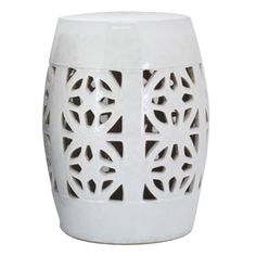 White Lotus Ceramic Stool - Poufs, Ottomans & Stools - Temple & Webster presents