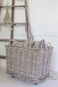 soft surroundings french stripe linen pillow rolling wicker basket reproduction antique