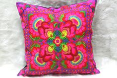 Thai Pillow Decor/Thailand pillow/ethnic pillow/PILLOW COVER/cushion cover/Pillow Decor/decorative cushion/Needlecraft/Suzani pillow