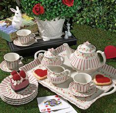 ANDREA by SADEK CHILD'S PORCELAIN TEA SET PINSTRIPE RED