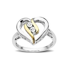 Silver + Gold Heart Ring