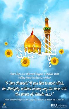 """Imam Ali Reza (a.s.): """"O Ibne Shabeeb! If you like to meet Allah, the Almighty, without having any sins then visit (the shrine) of Imam Hussain (a.s.)"""". Ref: Oyoon Akhbar al-Reza, vol. 1, page 300"""