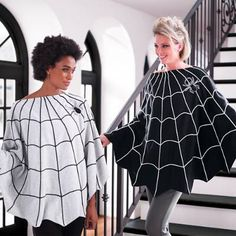 Slip our Spider Web Poncho over any outfit for an instant costume, or just wear it as a finishing touch. Full-circumference web design is accented with an embroidered spider applique. Effortlessly chic and instant costume Made from warm and comfortable jersey knit Select from Black or GrayDry clean only A Grandin Road exclusiveImported.