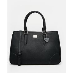 Marc B Brook Tote Bag with Detachable Shoulder Strap (6.440 RUB) ❤ liked on Polyvore featuring bags, handbags, black, top handle handbags, black purse, black zipper bag, zip bags and black handbags