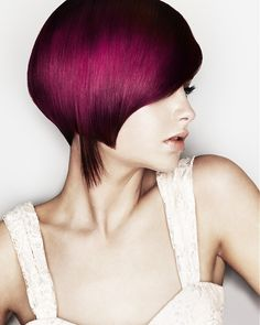 gorgeous asymmetrical magenta bob. click thru to read post