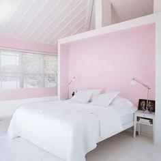 pink headboard.
