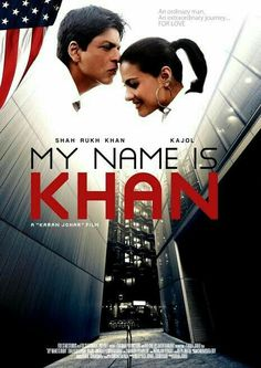 My Name Is Khan is directed by Karan Johar, produced by Hiroo Johar and Gauri Khan, and starring Shah Rukh Khan and Kajol in lead roles. The film was jointly produced by Dharma Productions and Red… Hindi Bollywood Movies, Bollywood Posters, Hindi Movies, My Name Is Khan, Indiana, Dharma Productions, 2020 Movies, International Film Festival, Shahrukh Khan