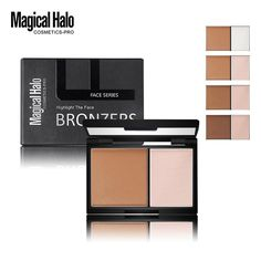 [Visit to Buy] 1pc Brand Magical Halo 2 Colors Highlighter Powder Shading Powder Bronzer Brighten Contour Pressed Powder With Mirror Makeup 55g #Advertisement