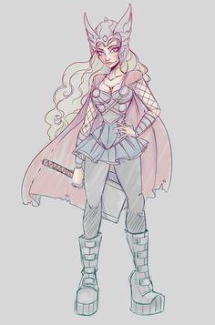 Female Thor Sketch by NoFlutter.deviantart.com on @deviantART
