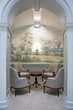 Scenic landscape mural wallpaper inspired by the English countryside, painted and printed by Susan Harter. Entrance foyer hall in Samford University in Alabama.