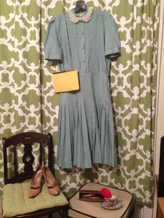 Seafoam green dress by MadHatterVintage1228 on Etsy, $19.50