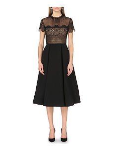 SELFRIDGES: SELF-PORTRAIT Felicia embroidered lace and crepe midi dress