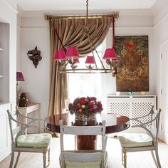 Traditional dining room with leopard print curtain | Festive west London home | House tour | PHOTO GALLERY | Homes & Gardens | Housetohome.co.uk