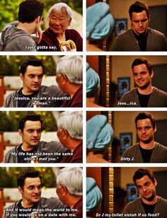 New Girl. The practice speech was so cute, but nick kinda got too nervous to stick to the plan... Poor Nick haha :)