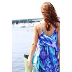 This gorgeous deep chic blue maxi was found at TJ's by  @achicvoyage. We're in love!