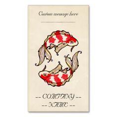 Classic oriental japanese koi carp fish tattoo business card template #classic #vintage #oriental #business #card #ofiice #profile #template #koi #carp #fish #symbol #gemini #pisces #cartoon