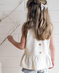 June Isle Collection jiss17. Linen peplum top. Kids fashion. Made in Canada.