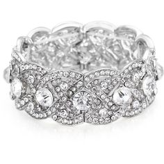 FAYBOX Women Antique Silver Stretch Bracelet Bridal Rhinestone Bangles... (50 BRL) ❤ liked on Polyvore featuring jewelry, bracelets, bangle bracelet, wedding jewellery, rhinestone jewelry, wedding bridal jewelry and wide bangle bracelet