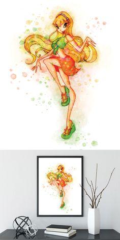 Winx Club Stella Print Watercolor Wall Decor Art