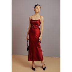 Galvan Mars Draped Sleeveless Satin Maxi Dress In Metallic Red Red Slip Dress, Dress With Bow, Silk Dress, Formal Evening Dresses, Evening Gowns, Bridesmaid Dresses, Prom Dresses, Bridesmaids, We Are The World