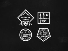 Saga Outerwear Logos. Different Badges for different lines.