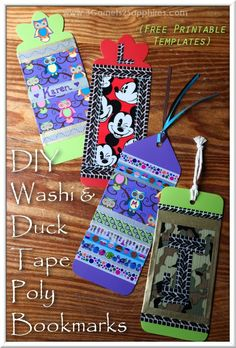 Easy diy personalized duck tape washi tape poly bookmark for Duck tape craft book