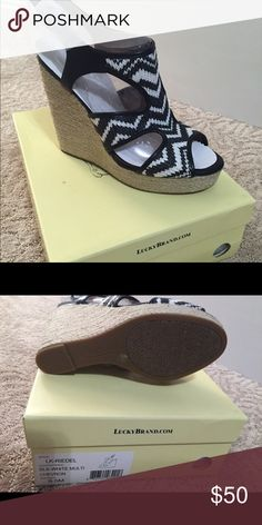 Lucky brand wedges Black and white chevron strip wedges new in box.         Feel free to make an offer via the offer button just understand if you lowballing is rude and I will block you or simply ignore you... :) Lucky Brand Shoes Wedges