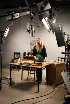 These are behind the scenes photos from the video shoot for Kitchen Table Metalsmithing: Metal Jewelry Making with a Micro Torch with Cassie Donlen.