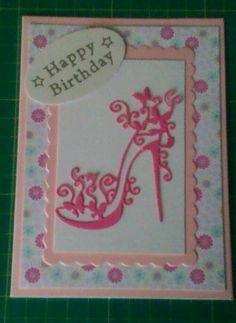 Tattered lace birthday card Special Birthday Cards, Birthday Cards For Women, Handmade Birthday Cards, Greeting Cards Handmade, Paper Cards, Diy Cards, Tattered Lace Cards, Dress Card, Spellbinders Cards