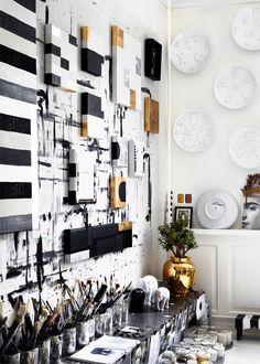 61 ideas for white art studio dreams Art Atelier, Home Office Design, House Design, Art Studio Design, Workspace Inspiration, Studio Interior, White Art, Black White, White Gold
