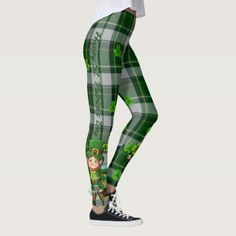 Patrick's Day Green Plaid Tartan Leggings created by MyDesignStudio. Personalize it with photos & text or purchase as is! St Patrick's Day Leggings, Tartan Leggings, Plaid Pants, Leggings Are Not Pants, St Paddys Day, St Patricks Day, Outlander Clothing, Outlander Tv, Saint Patrick's Day