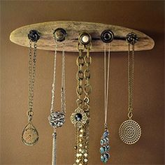 Make your own rustic, driftwood jewelry holder.