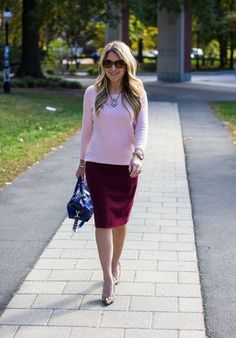 In a style rut? Try an unexpected color combo. Pink and cranberry