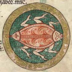 Glasgow University Library. The Hunterian Psalter. England: c. 1170. Sp Coll MS Hunter U.3.2 (229). folio 3v: detail from calendar page for June (zodiacal sign for Cancer)