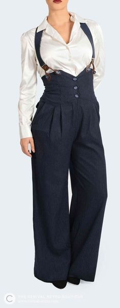 1940s Clothing: These navy pinstripe trousers are a stylish vintage inspired look. Worn here with braces for a statement style.