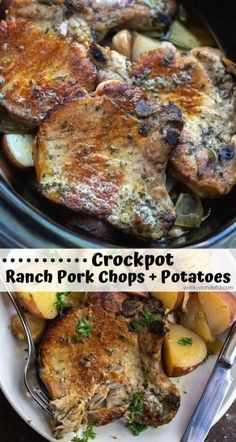 Crockpot ranch pork chops and potatoes is a super quick... Sy and no-fuss weekday dinner recipe. Just drop everything in your slow cooker and forget about it. Slow cooker pork chops will be a new family favorite! Crockpot Dishes, Crock Pot Slow Cooker, Crock Pot Cooking, Slow Cooker Recipes, Cooking Recipes, Potatoes Crockpot, Crockpot Recipes For Porkchops, Crockpot Ranch Porkchops, Quick Crock Pot Recipes