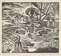 The Day of God  Paul Gauguin  (French, Paris 1848–1903 Atuona, Hiva Oa, Marquesas Islands)  Date: 1894–95 Medium: Woodcut on china paper; edition in black ink on china paper, printed and published by Paul Gauguin, Copenhagen, 1921 Dimensions: block: 7 3/16 x 8 in. (18.3 x 20.3 cm) sheet: 10 3/8 x 17 1/8in. (26.4 x 43.5cm) Classification: Prints Credit Line: Rogers Fund, 1921 Accession Number: 21.38.1