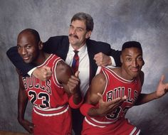 Phil Jackson with the boys, Michael Jordan and Scottie Pippen of the Chicago Bulls