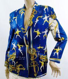 Vintage Marina Sitbon Pour Kamosho Fencing Print Womens Blazer Jacket Sz 42 FR #MarinaSitbonPourKamosho #Blazer