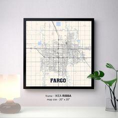 Fargo North Dakota Map Print, Fargo Square Map Poster, Fargo Wall Art, Fargo gift, North Dakota State University, Custom Personalized map by PFmaps on Etsy https://www.etsy.com/listing/527363944/fargo-north-dakota-map-print-fargo