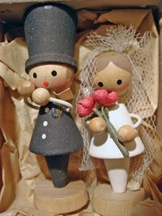 Vintage Wooden Wedding Cake Topper Made in East Germany