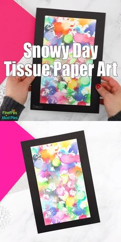 Easy enough for kids of all ages, this colorful tissue paper art project uses bleeding tissue paper and snow to create one-of-a-kind paintings. Toddler Art Projects, Toddler Crafts, Projects For Kids, Preschool Art Projects, Classroom Art Projects, Easy Art Projects, Winter Crafts For Kids, Diy Crafts For Kids, Art For Kids