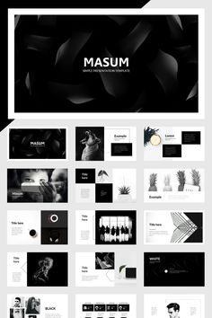 Masum Black And White PowerPoint Template #86087, #Ad #White #Template #Masum #Black